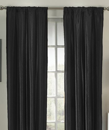 Black Taffeta Interline Curtain Panel - Set of Two