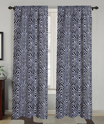 Black Zebra Flock Curtain Panel - Set of Two