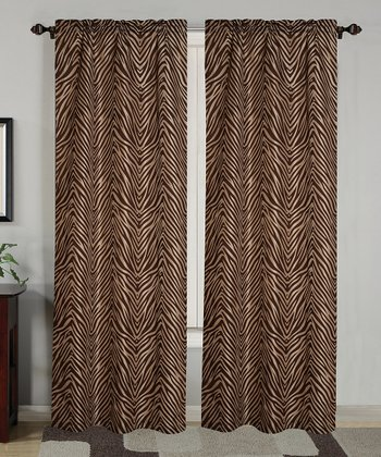 Chocolate Zebra Flock Curtain Panel - Set of Two