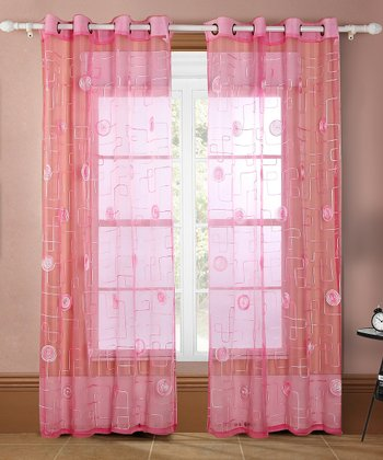 Fuchsia & Pink Moda Curtain Panel - Set of Two