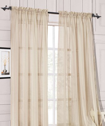 Ivory Sheer Celine Pocket Curtain Panel - Set of Two