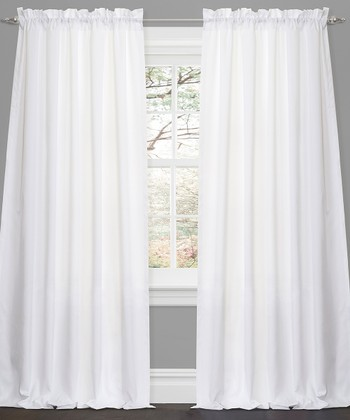 White Lucia Curtain Panel - Set of Two