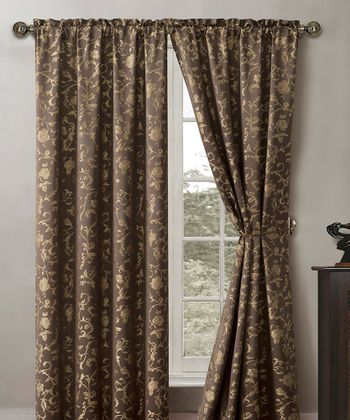Chocolate Garden Scroll Curtain Panel - Set of Two