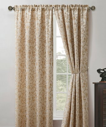 Ivory Garden Scroll Curtain Panel - Set of Two