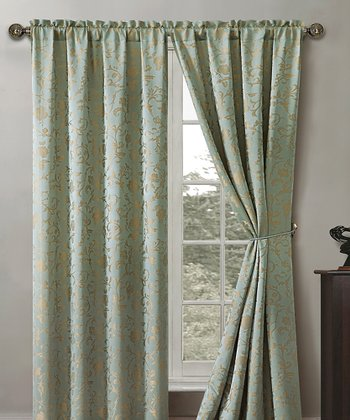 Sage Garden Scroll Curtain Panel - Set of Two
