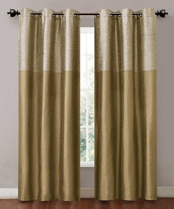Gold Lancaster Curtain Panel - Set of Two