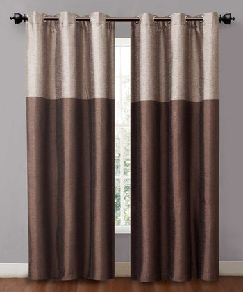 Taupe & Chocolate Lancaster Curtain Panel - Set of Two