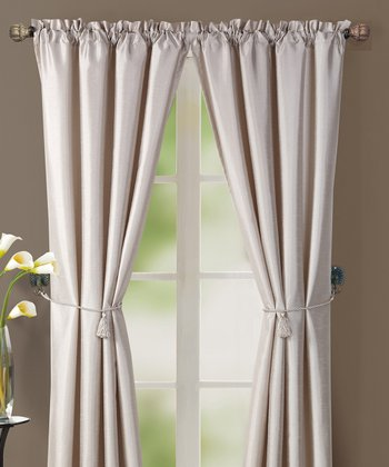 Beige Lincoln Curtain Panel - Set of Two