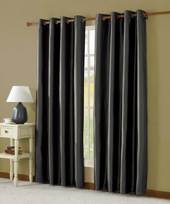Black Taffeta Lined Curtain Panel