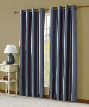 Blue Taffeta Lined Curtain Panel