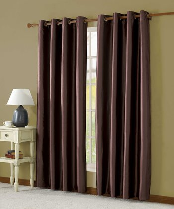 Chocolate Taffeta Lined Curtain Panel