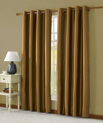Gold Taffeta Lined Curtain Panel