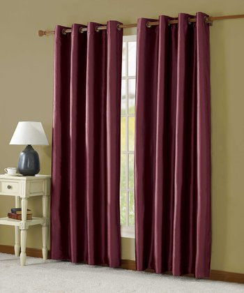 Burgundy Taffeta Lined Curtain Panel