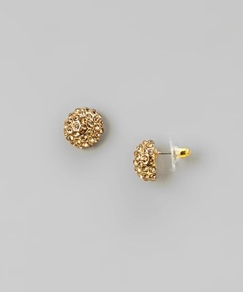 Gold Rhinestone Crystal Ball Earrings