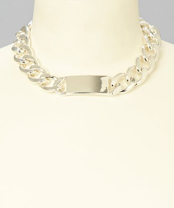 Silver ID Curb Link Pendant Necklace