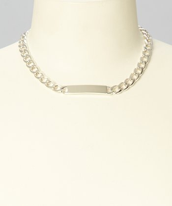 Silver ID Chain Curb Link Pendant Necklace