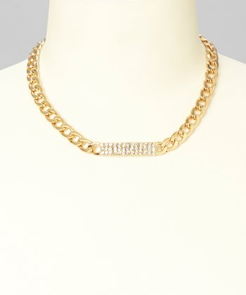 Gold Rhinestone ID Curb Link Pendant Necklace