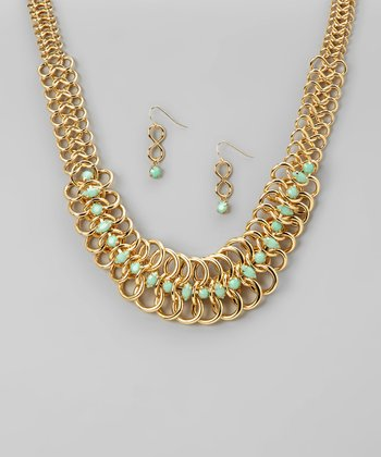 Gold & Turquoise Bib Necklace & Earrings