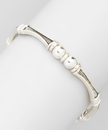 Silver Stripe Stackable Stretch Bracelet