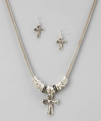 Silver Tailored Cross Necklace & Earrings