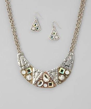 Silver & Rhinestone Hammered Bib Necklace & Earrings