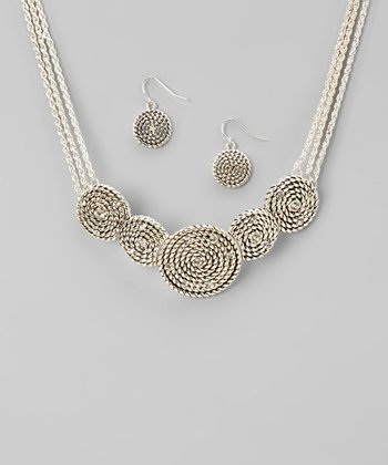 Silver Belt Bib Necklace & Earrings