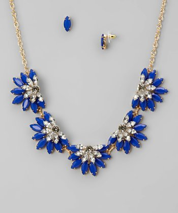 Blue & Gold Flower Necklace & Earrings