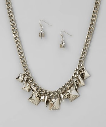 Silver Pyramid Necklace & Earrings