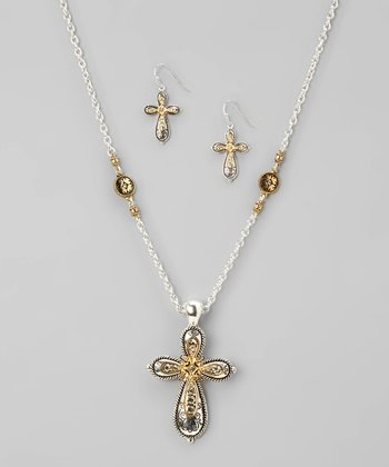 Silver & Rhinestone Cross Necklace & Earrings