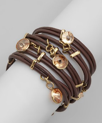 Brown & Topaz Cubic Zirconia Leather Wrap Bracelet
