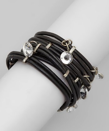 Black & Silver Cubic Zirconia Leather Wrap Bracelet