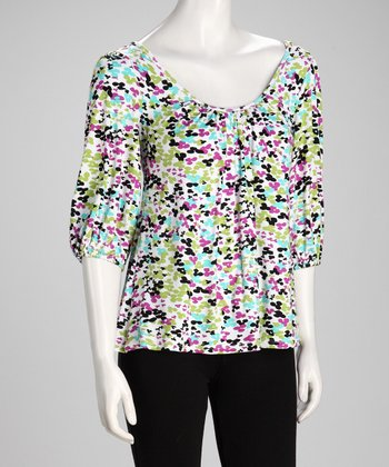 Lime Confetti Cross-Back Top