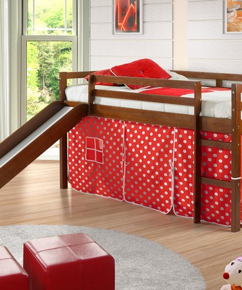 Espresso & Red Polka Dot Tent Twin Loft Bed & Slide