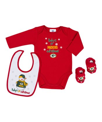 Red Green Bay Packers '1st Christmas' Bodysuit Set - Infant