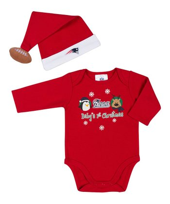 Red New England Patriots Bodysuit & Santa Hat - Infant