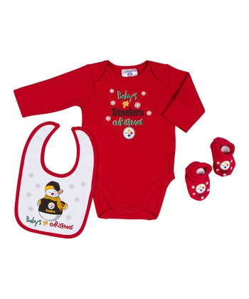 Red Pittsburgh Steelers '1st Christmas' Bodysuit Set - Infant