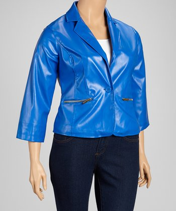 St. Tropez Blue Button Jacket - Plus