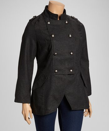 Dark Gray Military Jacket - Plus