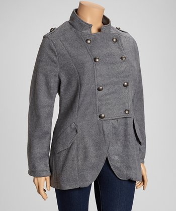 Light Heather Gray Fleece Military Jacket - Plus