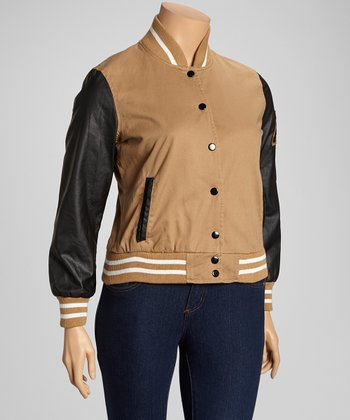 Camel & Black Athletic Jacket - Plus