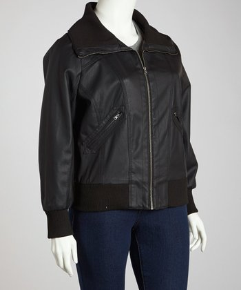 Black Bomber Jacket - Plus
