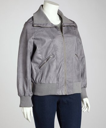 Heather Gray Bomber Jacket - Plus