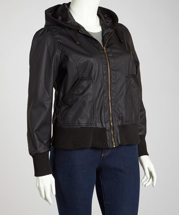 Black Cuffed Hooded Jacket - Plus