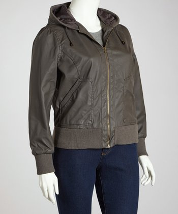 Charcoal Cuffed Hooded Jacket - Plus