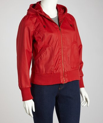 Red Carpet Cuffed Hooded Jacket - Plus