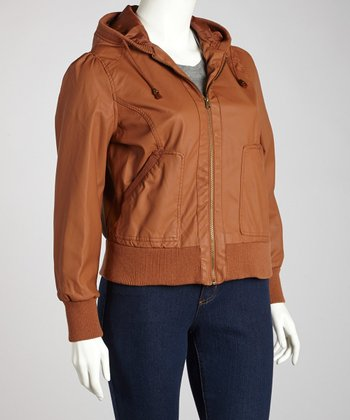 Amber Gem Cuffed Hooded Jacket - Plus