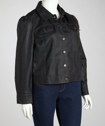 Black Denim-Style Jacket - Plus