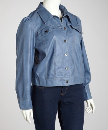 Faded Blue Denim-Style Jacket - Plus