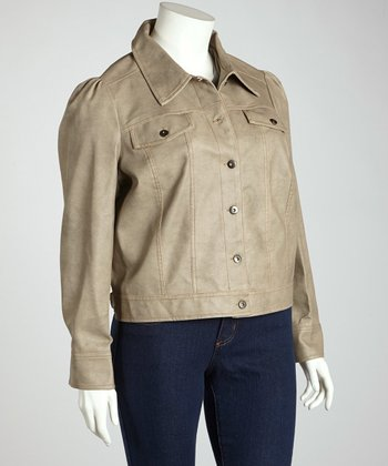 Sandstone Denim-Style Jacket - Plus