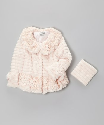 Peach Embellished Faux Fur Coat - Girls